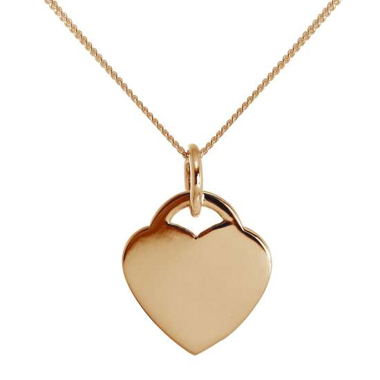 Large Rose Gold Plated Sterling Silver Engravable Heart Necklace