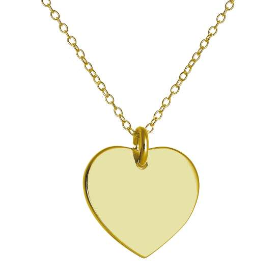 Gold Plated Sterling Silver Engravable Heart Necklace 16 22