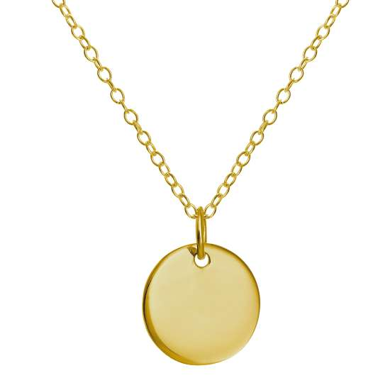 Gold Plated Sterling Silver Round Engravable Necklace 16-22