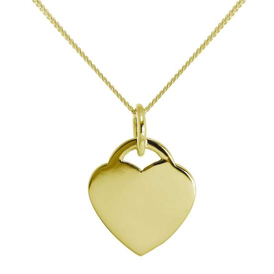 Gold Plated Large Sterling Silver Engravable Heart Necklace