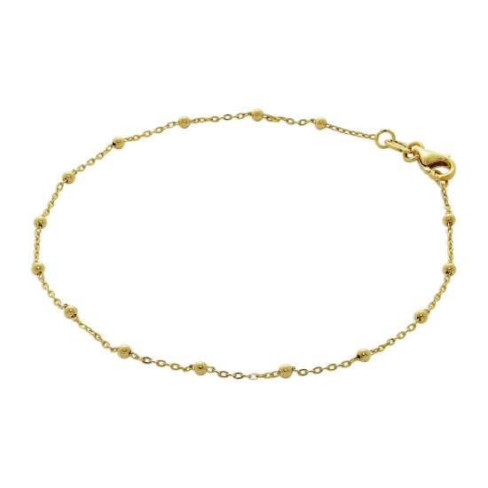 9ct Gold Bobble Ball Bead Chain Bracelet 7.5 Inches