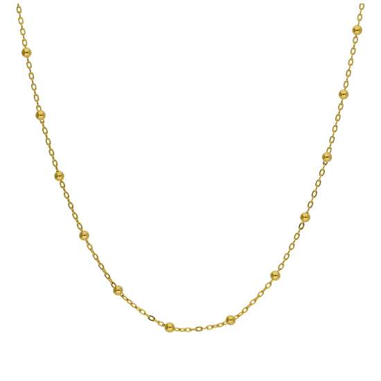 9ct Gold Bobble Ball Bead Chain Necklace 18 Inches