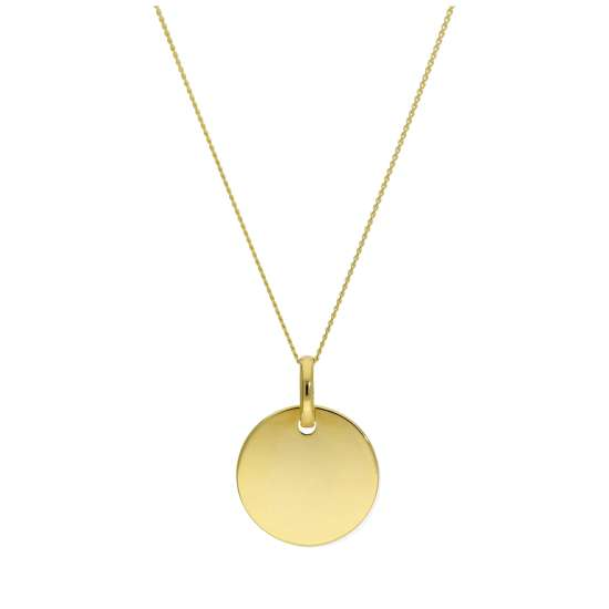 9ct Gold 12mm Round Engravable Disc Necklace 16-22 Inches