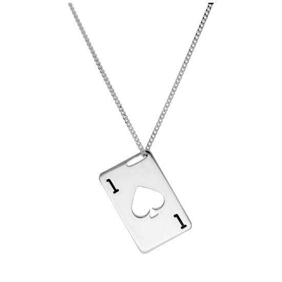 Bespoke Sterling Silver Spades Playing Card Necklace 14-32 Inches