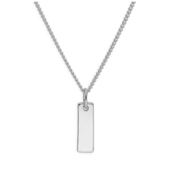 Sterling Silver Mini Bar Engravable Tag Necklace 16-28 Inches