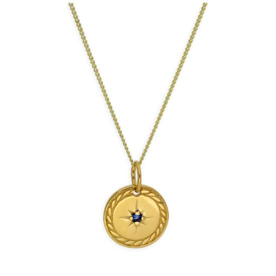 Gold Plated Sterling Silver Star Disc Medallion Necklace 14-32 Inches