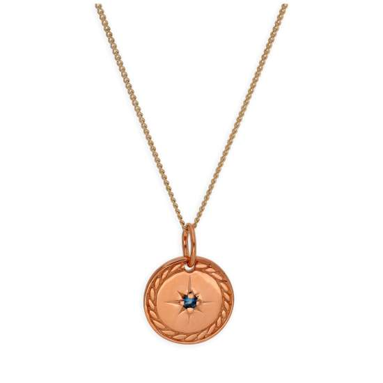Rose Gold Plated Sterling Silver Star Disc Medallion Necklace 14-32