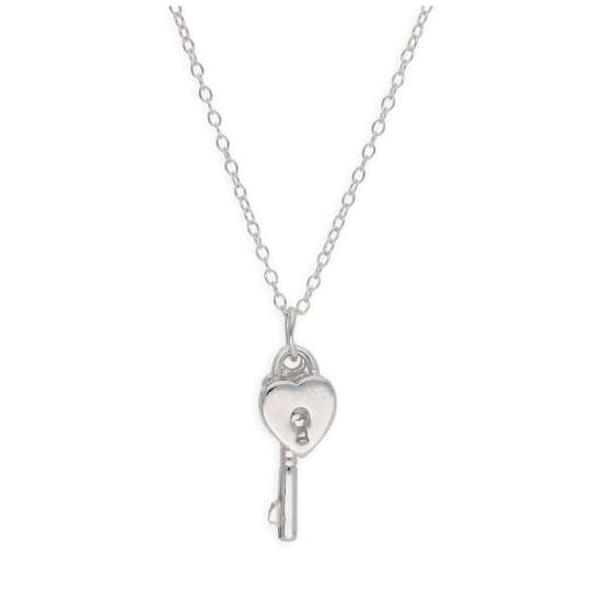 Sterling Silver Heart Padlock Key Necklace 14-22 Inches