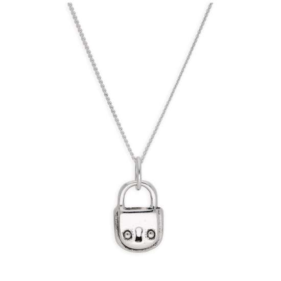 Sterling Silver Padlock Keyhole Necklace 14-32 Inches
