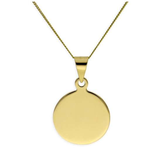 Gold Plated Sterling Silver Round Engravable Necklace 14-32