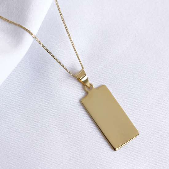 Gold Plated Sterling Silver Rectangular Engravable Necklace 14-32