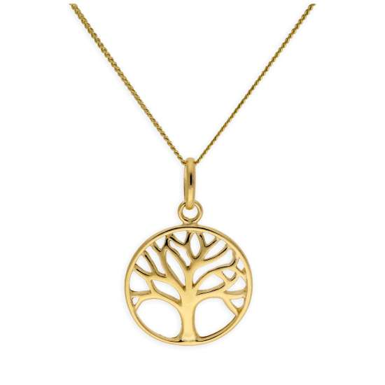 Gold Plated Sterling Silver Tree of Life Necklace 14-32 Inch