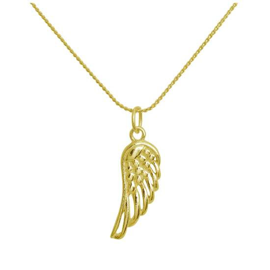 Gold Plated Sterling Silver Angel Wing Necklace 14 - 28 Inches