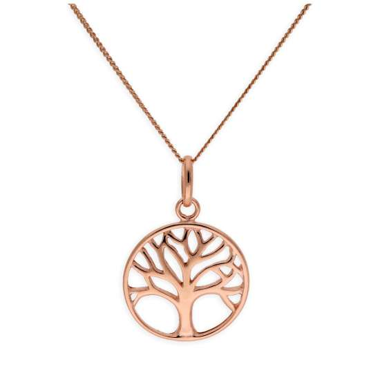 Rose Gold Plated Sterling Silver Tree of Life Necklace 14-32