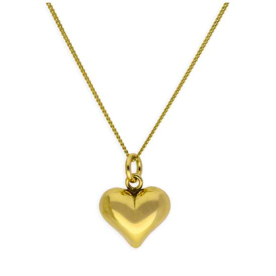 Gold Plated Sterling Silver Puffed Heart Necklace 14-32 Inch