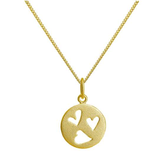 Gold Plated Sterling Silver Triple Heart Necklace 14-32 Inch