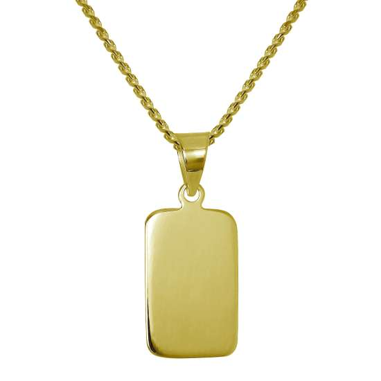 Gold Plated Sterling Silver Rectangular Engravable Necklace