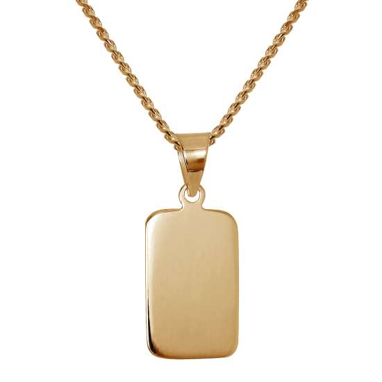 Rose Gold Plated Sterling Silver Engravable Tag Necklace 14-28 Inches