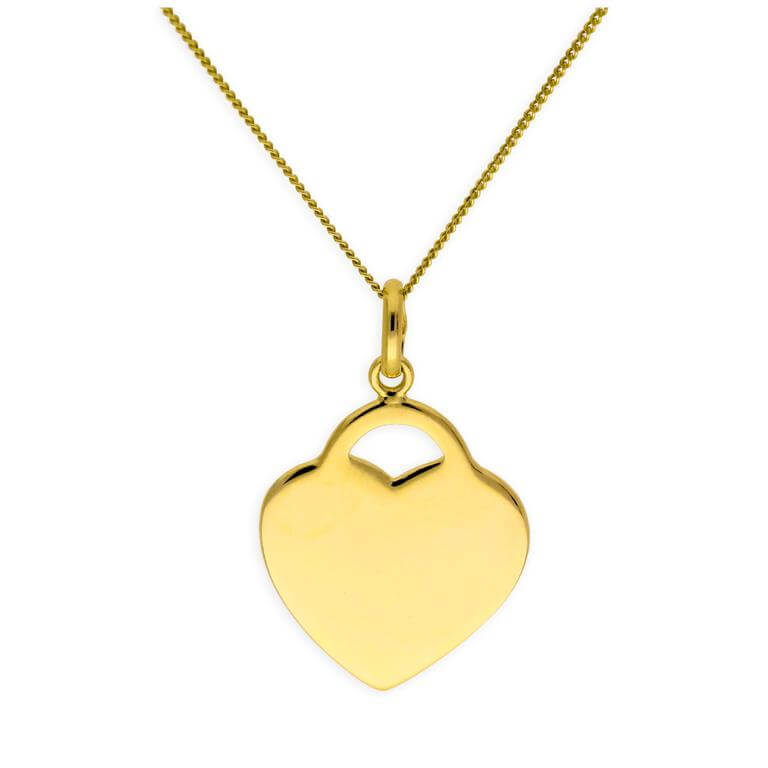 Gold Plated Sterling Silver Heart Engravable Necklace 14-32 Inches