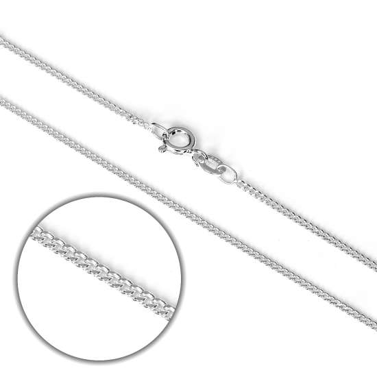Sterling Silver 1.1mm Diamond Cut Curb Chain Necklace