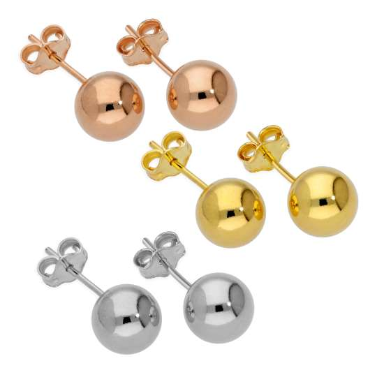 Triple Mixed Colour Gold Plated Sterling Silver 7mm Ball Stud Earrings Set