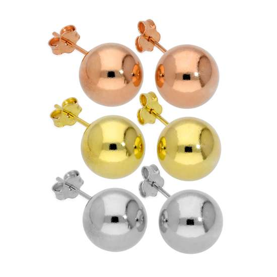 Triple Mixed Colour Gold Plated Sterling Silver 10mm Ball Stud Earrings Set