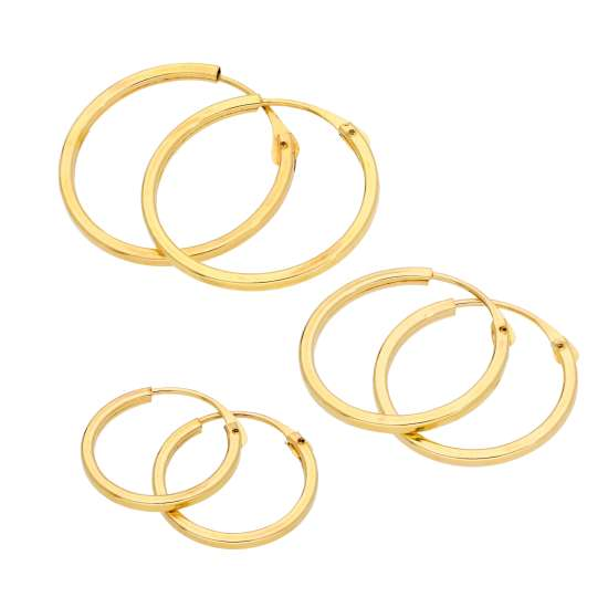 Triple 9ct Gold 1mm Square 12 14 16mm Sleeper Hoop Earrings Set