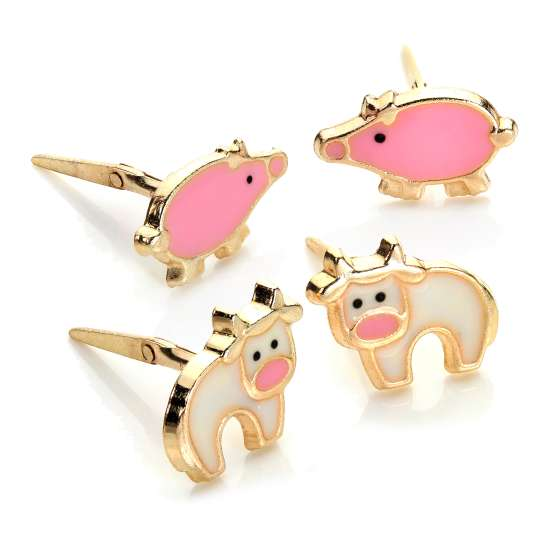 9ct Gold Andralok Kids Farmyard Animal Stud Earrings Set