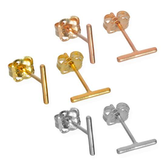 Triple Mixed 9ct Gold Bar Stud Earrings - 3 Pack
