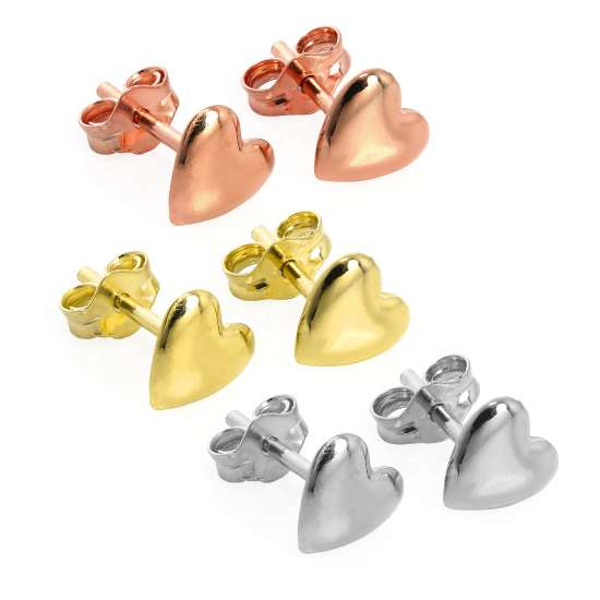 Mixed Gold Plated Sterling Silver Heart Stud Earrings - 3 Pack