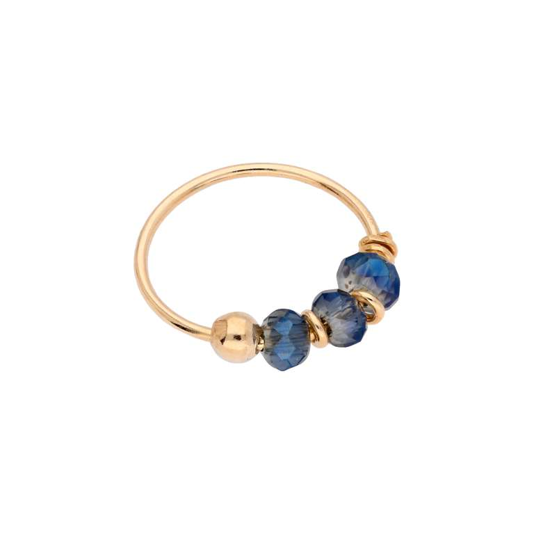9ct Gold Bermuda Blue Bead 10mm Nose Ring
