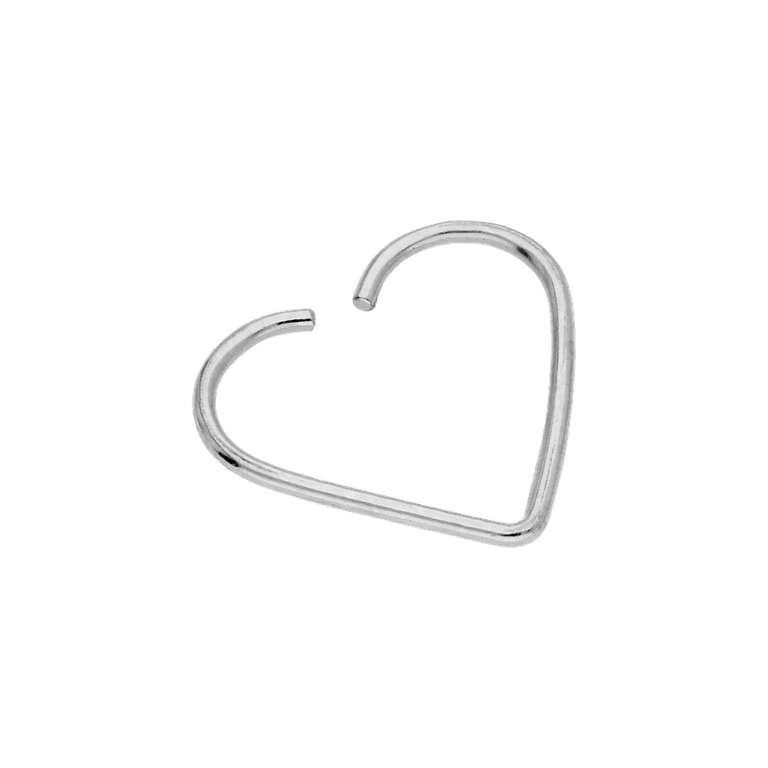9ct White Gold Heart 24Ga Daith Piercing Ring