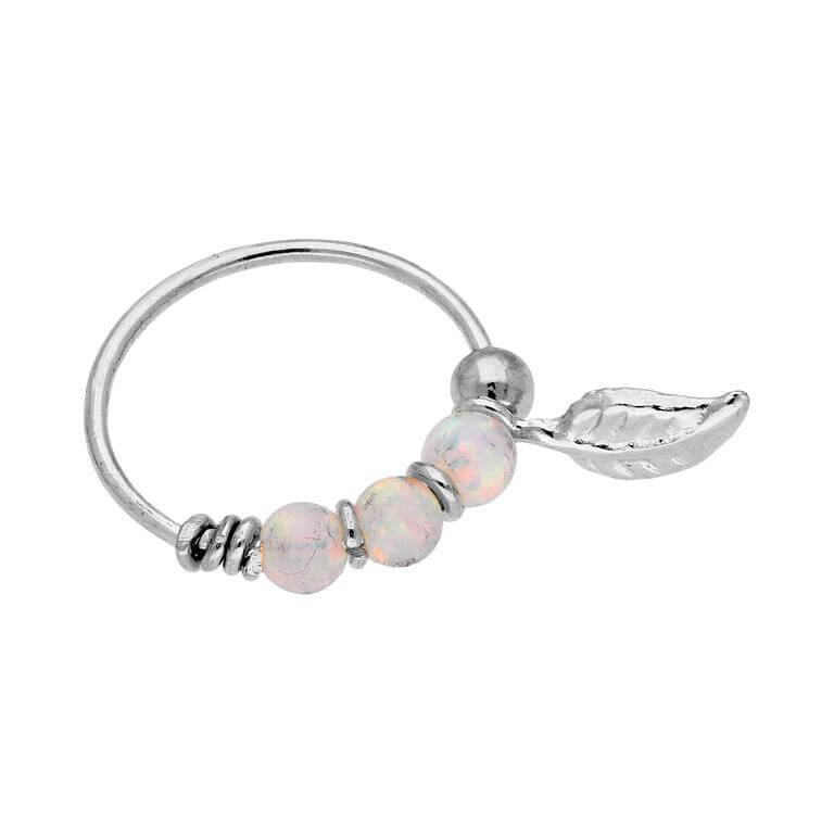 9ct White Gold Aurora Borealis Opals & Leaf 10mm Nose Ring
