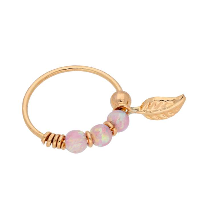 9ct Gold Pink Opal Stones & Leaf 10mm Nose Ring
