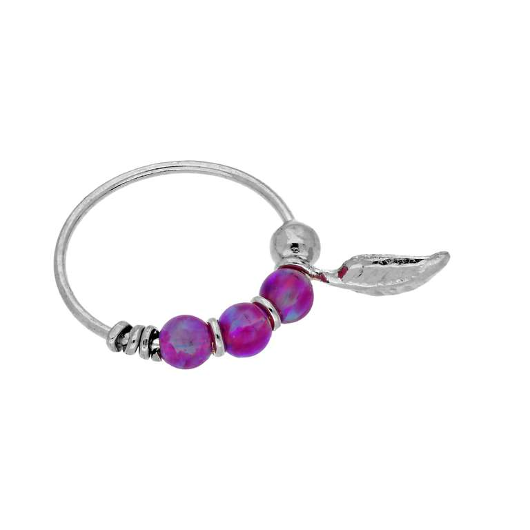 9ct White Gold Purple Opal Stones & Leaf 10mm Nose Ring