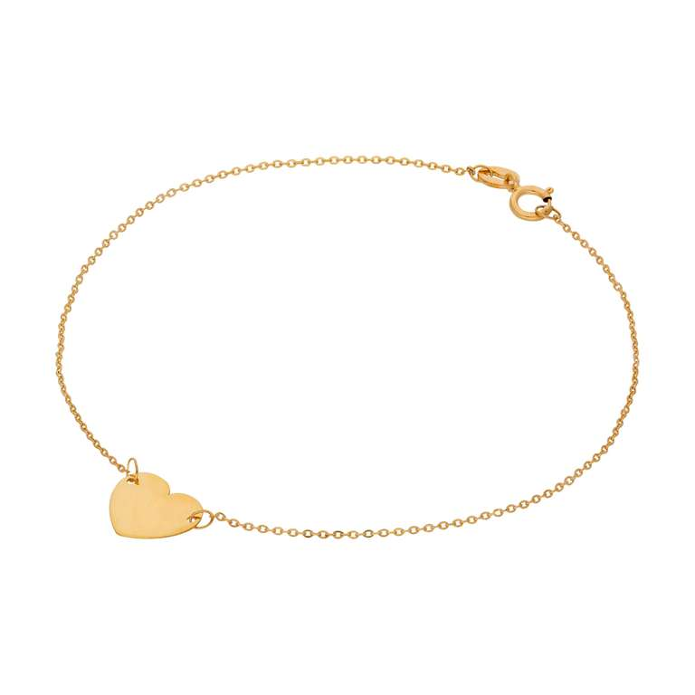 Fine 9ct Gold Engravable Heart Adjustable 7 Inch Bracelet