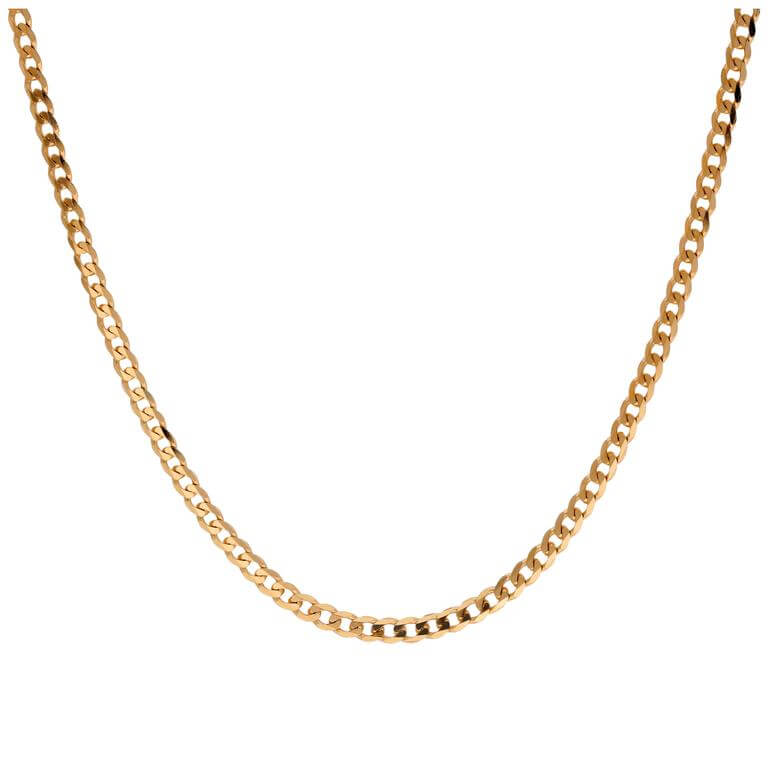 9ct Gold 2mm Thick Diamond Cut Curb Necklace 20 Inches