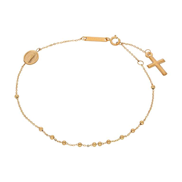9ct Gold Adjustable Rosary Bracelet - 7 Inches
