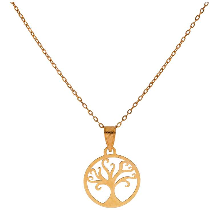 Fine 9ct Gold Outline Tree of Life Necklace - 16 Inches