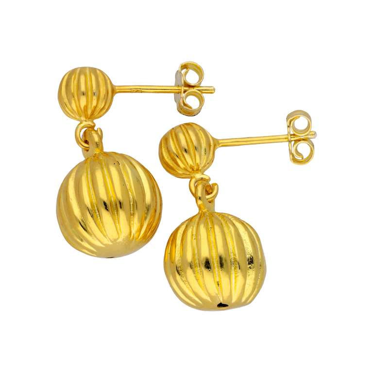 Gold Plated Sterling Silver Double Ball Drop Stud Earrings