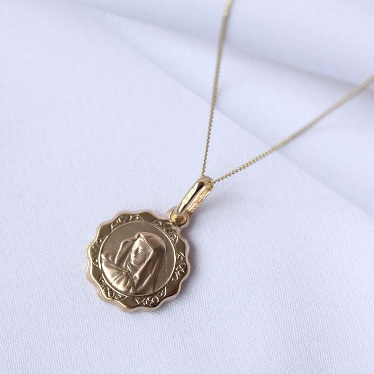 9ct Gold Round Madonna with Child Necklace 16 - 22 Inches