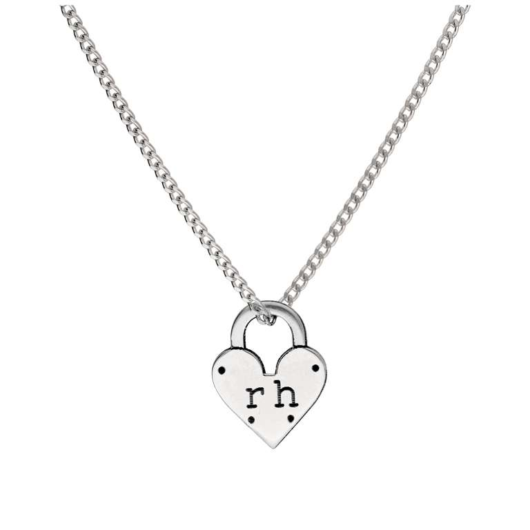 Simple Bespoke Sterling Silver Initials Heart Padlock Necklace 16 - 28 Inches