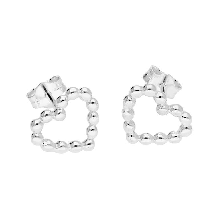 Sterling Silver Bobble Beaded Heart Stud Earrings