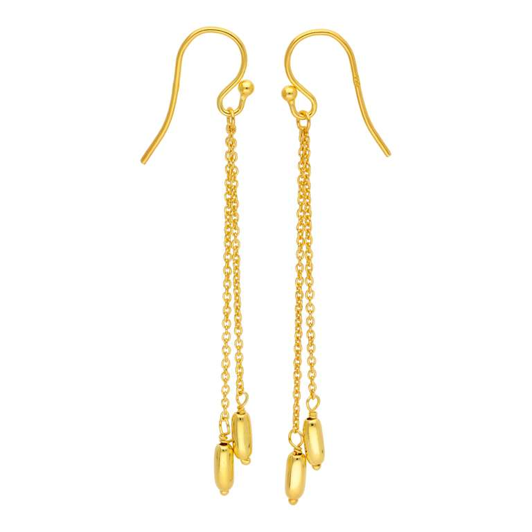 Gold Plated Sterling Silver Double Nugget Drop Earrings
