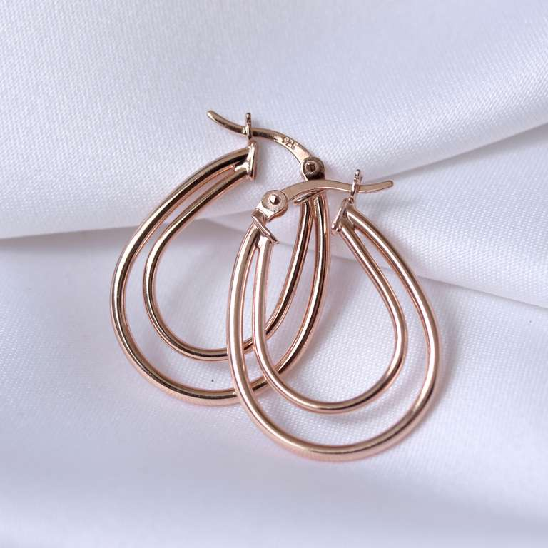Rose Gold Plated Sterling Silver Double 18mm Creole Earrings