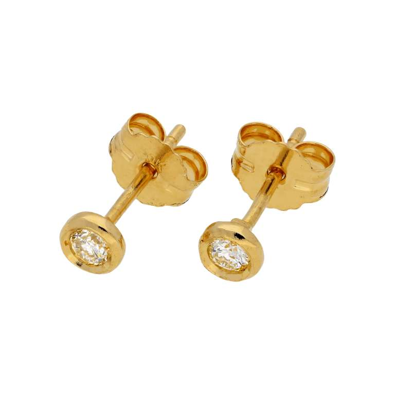 0.09ct Diamond 9ct Gold Round Stud Earrings
