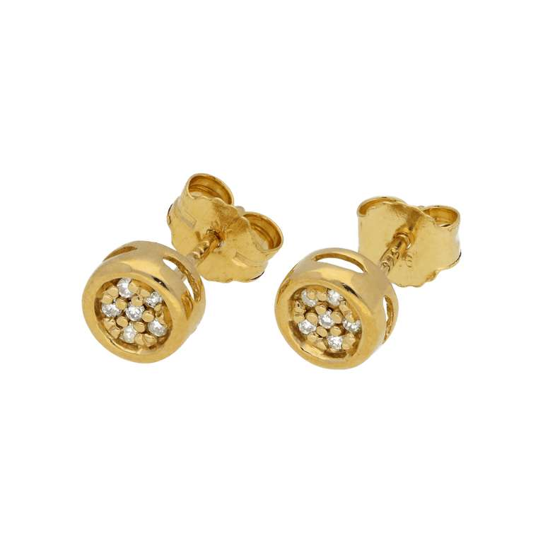 0.054ct Diamond 9ct Gold Cluster Round Stud Earrings