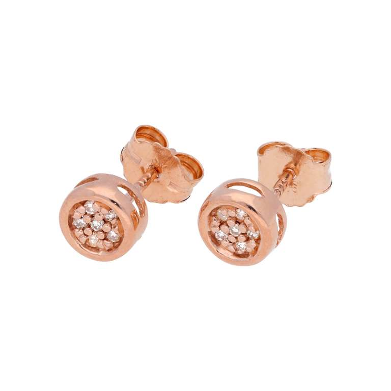 0.054ct Diamond 9ct Rose Gold Cluster Stud Earrings