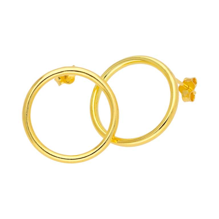 Gold Plated Sterling Silver 20mm Large Open Circle Stud Earrings