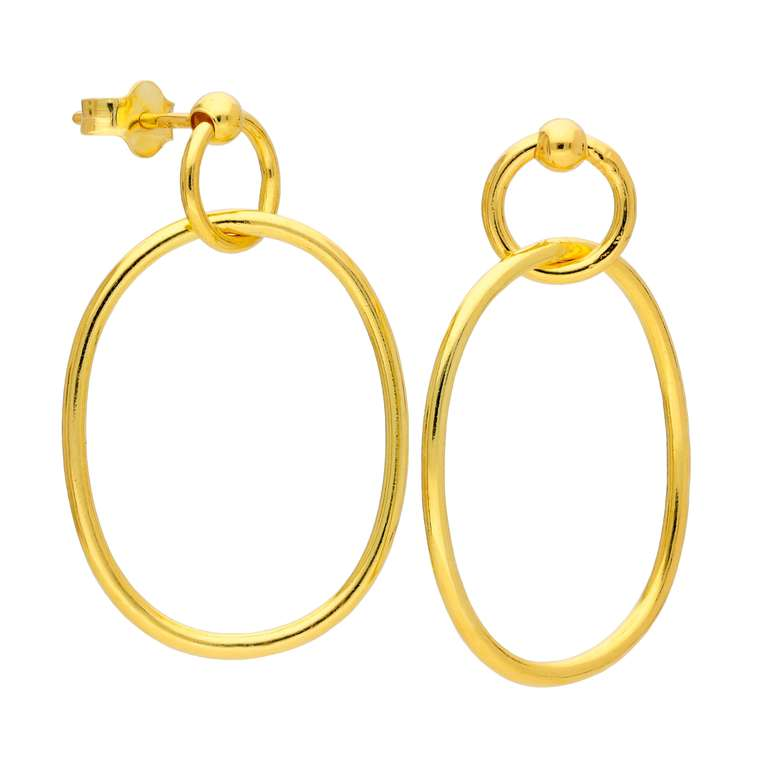Gold Plated Sterling Silver Interlocking Stud Drop Earrings